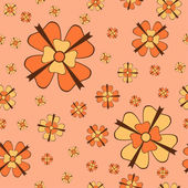 Orange flowers with bows seamless pattern — Cтоковый вектор