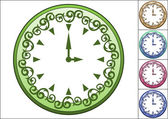 Simple wall clock decorated with ornate pattern — Stock Vector