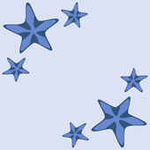 Decorative frame with blue starfishes on white, vector — Stockvector