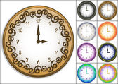 Wall clock decorated with ornate pattern — Stock Vector