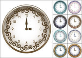 Wall clock decorated with ornate pattern — Stockvector
