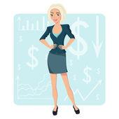 Mujer de negocios rubio — Vector de stock
