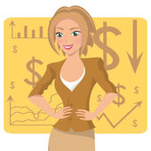 Business woman in ochre suit — Stock Vector