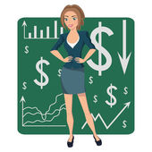 Brown-haired business woman — Stock Vector