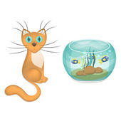 Vector illustration of cartoon cat and aquarium with fishes — Stock Vector