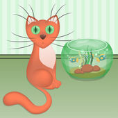 Cartoon red cat and aquarium with fishes — Stock Vector
