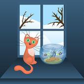 Cartoon cat and aquarium with fishes — Stock Vector