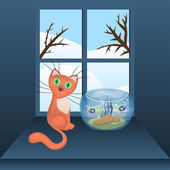Cartoon cat and aquarium with fishes — Stock Vector