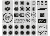 Black clocks icons in the gray squares — Stock Vector