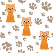 Seamless pattern with cartoon cat and paws — Stock Vector