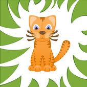 Dibujos animados gato parece tigre en el marco de la hierba de la selva — Vector de stock