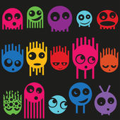 Cute monsters seamless pattern, vector — Stock Vector