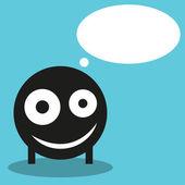 Cute monster with speech balloon, vector — Stock Vector