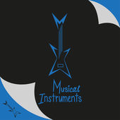 Musical instruments shop sign with guitar. Vector illustration, hand-drawing text — Stock Vector