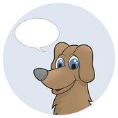Cachorro de dibujos animados lindo con burbuja de discurso. ilustración vectorial — Vector de stock