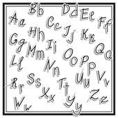 Hand cut vector alphabet sticker set white color, school font, vintage — Stock Vector