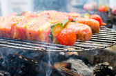 Grilled skewer with meat, cucumber and tomato — Stock Photo
