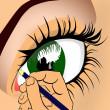 The eye is drawn vector — Stockfoto