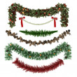 Christmas ornaments, patterns, garlands, toys set — Stock Photo