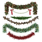 Vánoční ornamenty, vzory, věnce, hračky sada — Stock fotografie