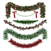 Kerst ornamenten, patronen, slingers, speelgoed set — Stockfoto