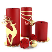 Christmas candle decorated with ball toys isolated — Photo