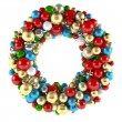 Christmas wreath decoration from ball toys — Stock Photo #35444803
