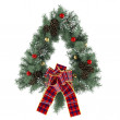Christmas wreath with bow isolated — Stock Photo