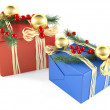 Two decorated christmas gift box isolated — Stock Photo