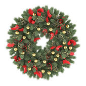 Christmas wreath isolated — Stock Photo