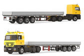 Hard truck aluminum cargo trailer. — Stock Photo