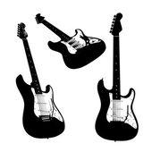 Electric guitar silhouettes isolated — Zdjęcie stockowe