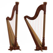 Ancient harp isolated. Two angles of view — Stock Photo