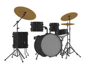 Drums isolated. Black drum kit. — Stock Photo