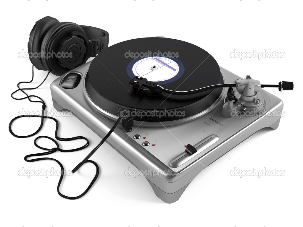lecteur dj de vinyle avec un casque platine vinyle. Black Bedroom Furniture Sets. Home Design Ideas