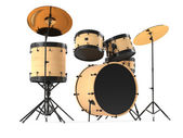 Wooden drums isolated. Black drum kit. — Stock Photo