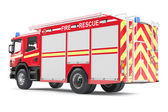 Fire truck back isolated — Stock Photo