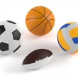 Basketball, football, volleyball, rugby balls — Stock Photo #38880503