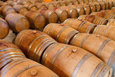 Oak wine barrels in a winery cellar — Stock Photo