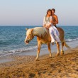 Attractive couple with a  horse on the beach — ストック写真