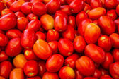 Ripe fresh red tasty tomatoes at local fruit market — Stock Photo