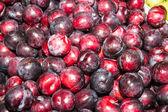 Delicious ripe juicy plums at local market — ストック写真