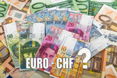 Swiss and EU bank notes — Stock Photo