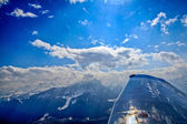 Unique airplane aerial view of central Swiss Alps. — Stock fotografie