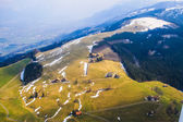 Unique airplane aerial view of Rigi ski resort Switzerland. — Stock Photo