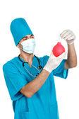Médecin avec seringue à lavement — Photo
