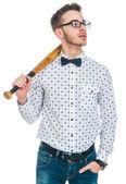 Man with baseball bat — Stock Photo