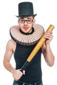 Uomo con la mazza da baseball — Foto Stock