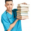 Medical student with books — Stockfoto