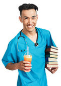 Medical student with books — Stock Photo